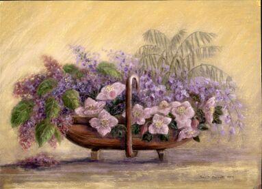 Blossoms In Garden Trug (Pastel) 1