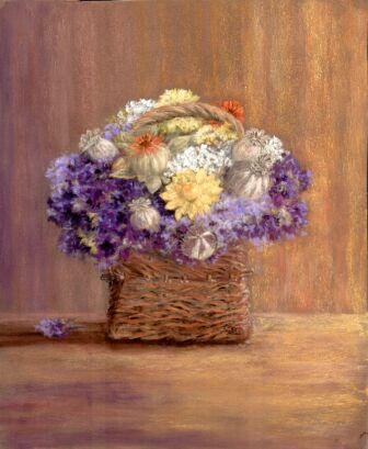 Dried Flowers In Wicker Basket